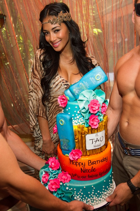 Nicole Scherzinger, formally of The Pussycat Dolls, and Xfactor judge, celebrates her birthday at TAO Beach