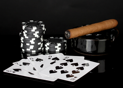 poker chips and cigar