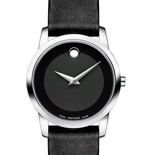 Black Movado watch leather