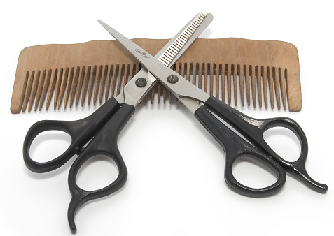 barber comb and scissors