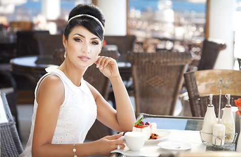 woman having upscale lunch