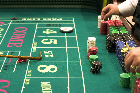 craps table and dice adn chips