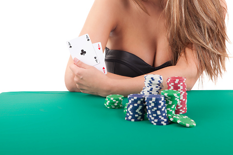 hot babe playing poker