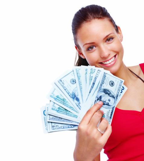 pretty girl holding money