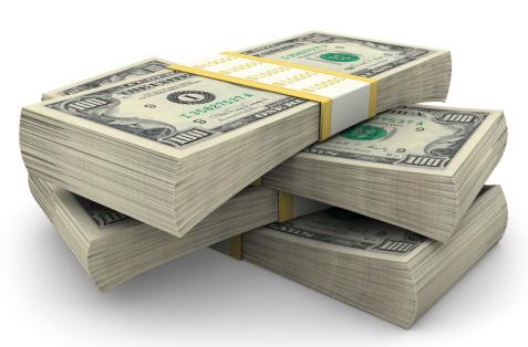 stacks of 100 bills