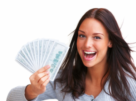 pretty girl holding cash