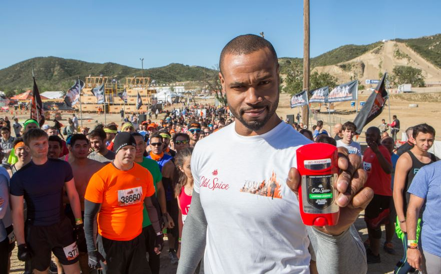 Old Spice Guy Isaiah Mustafa helped Old Spice kick off its partnership with Tough Mudder as the official Men's Body Wash and Anti-Perspirant/Deodorant of the rigorous obstacle course series on Saturday, Apr. 16, 2016 in San Bernardino, Calif., offering the perfect proving ground for guys to test the legendary performance of the new Old Spice Hardest Working Collection. (Photos Gilles Mingasson / AP for Old Spice)