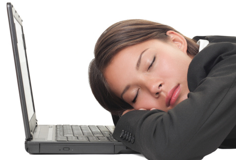 woman napping at work