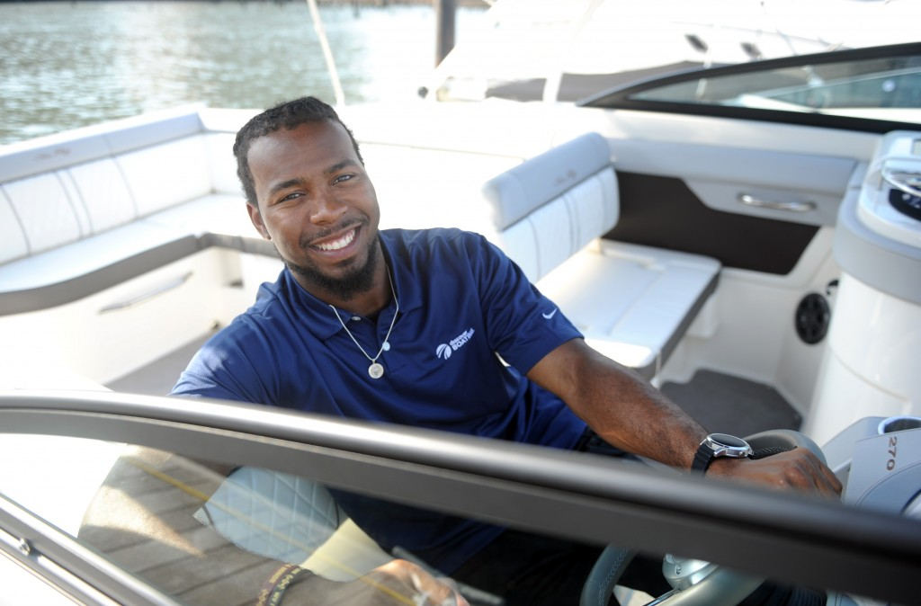 Pro football player and boating enthusiast Josh Norman joins Discover Boating, a national campaign to help people get on the water and enjoy boating. Norman found time to relax out on the water before he reports to his first training camp with the Washington Redskins next week. (Diane Bondareff/AP Images for Discover Boating)